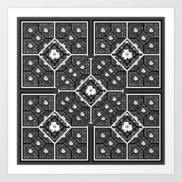 Cherokee Rose Pattern 1 black gray white Art Print