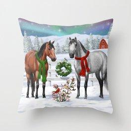 Christmas Horses Winter Farm Scene Throw Pillow