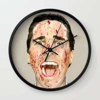 american psycho Wall Clocks featuring American Psycho by JackyAttacky