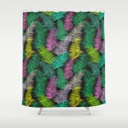 Palm Leaves Dark Smaller Shower Curtain