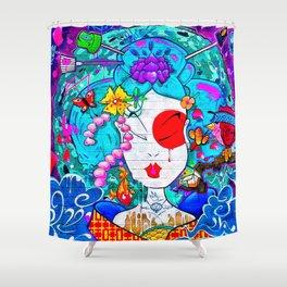 Graffiti Geisha Shower Curtain