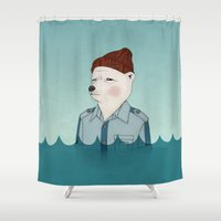 the life aquatic Shower Curtains featuring Bill Murray - Life Aquatic by Drivis