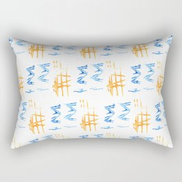 Stamp Orange Blue Crosshatch ZigZag Rectangular Pillow