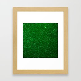 Christmas Evergreen Green Sparkly Glitter Framed Art Print