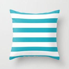 Scuba blue stripes Throw Pillow