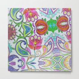 Pink orange lime green artistic watercolor hand drawn flowers Metal Print