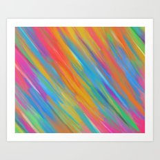 Color Overload Painting / Watercolor Hand Painted Tie-Dye Effect Gradient / Orange Yellow Blue Pink Art Print