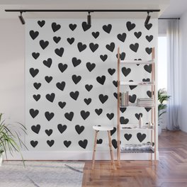 Hearts Love Black and White Pattern Wall Mural