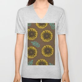 Sunflowers, Foral Pattern - Brown Unisex V-Neck