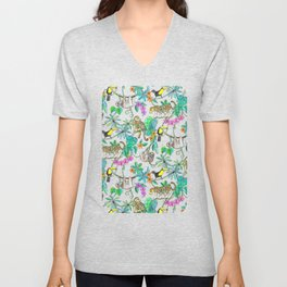 Rainforest Friends - watercolor animals on textured red Unisex V-Neck