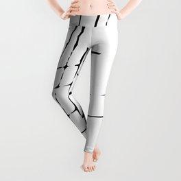 Grid Sketch Black and White Leggings
