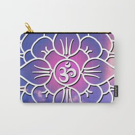 Yoga's Spiritual Om Mantra // Over Pink and Blue Colored Clouds Carry-All Pouch