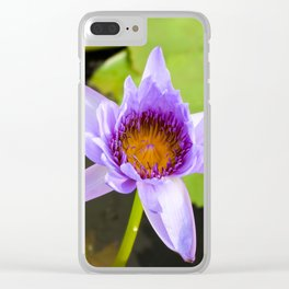 Blue Water Lily Clear iPhone Case