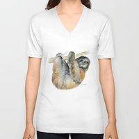 sloth V-neck T-shirts featuring Sloth by Susan Windsor
