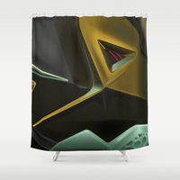 sneaker Shower Curtains featuring ABSTRACT SNEAKER KING JAMES 11 by LTR ARTWORK