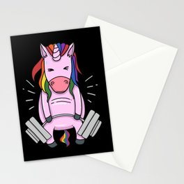 Weightlifting Unicorn | Fitness Training Stationery Cards
