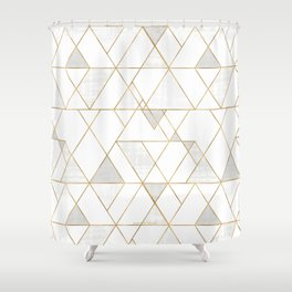 Mod Triangles Gold and white Shower Curtain