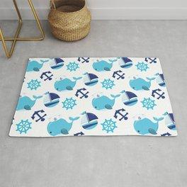 Whale Pattern, Sailor Whales, Sailor Boats - Blue Rug