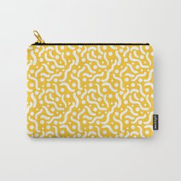 Yellow background with curves and dots. Carry-All Pouch