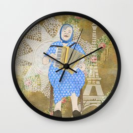 Woman Playing the Accordion Wall Clock