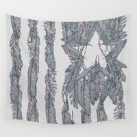 flag Wall Tapestries featuring America Feather Flag by Sitchko Igor