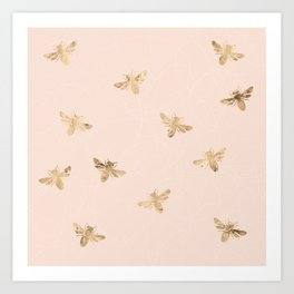 Busy Bees (Pink) Art Print