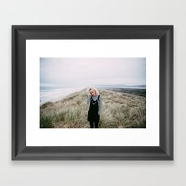 Girl with Cat Overalls on the Oregon Coast Framed Art Print