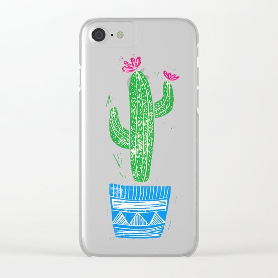 Linocut Cacti #2 in a pot Clear iPhone Case