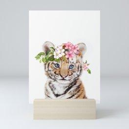 Tiger Cub with Flower Crown Mini Art Print