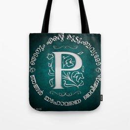 Joshua 24:15 - (Silver on Cyan) Monogram P Tote Bag