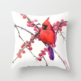 Red Cardinal and Berries, Christmas Red design Christmas Decor Gift Throw Pillow