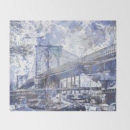 Brooklyn Bridge New York USA Watercolor blue Illustration Throw Blanket