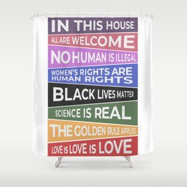 In This House, All Are Welcome Banner Shower Curtain