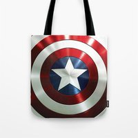 steve rogers Tote Bags featuring Captain Steve Rogers Shields  by neutrone