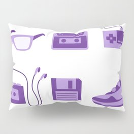I Love the 80s in Purple - Bedroom Items - Sneakers Sunglasses Walkman Video Game Floppy Disk Icons Pillow Sham