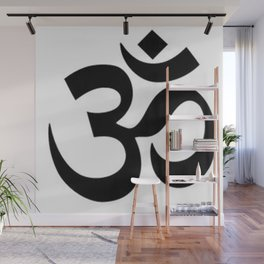 Black and White Graphic Ohm Symbol Wall Mural