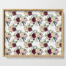 Burgundy ivory green watercolor boho floral pattern Serving Tray