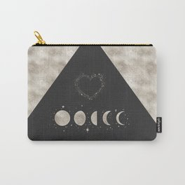 Silver Moon Phases Abstract Geometric Art Carry-All Pouch