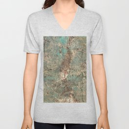Turquoise and Fawn Brown Marble Unisex V-Neck