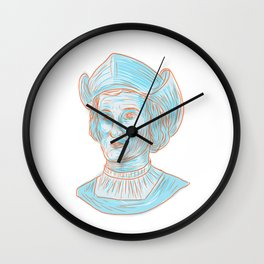 Christopher Colombus Explorer Bust Drawing Wall Clock