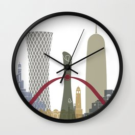 Doha skyline poster Wall Clock