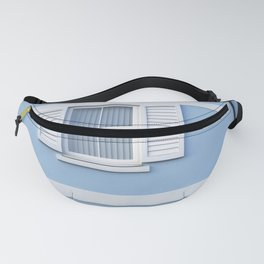 White on blue Fanny Pack
