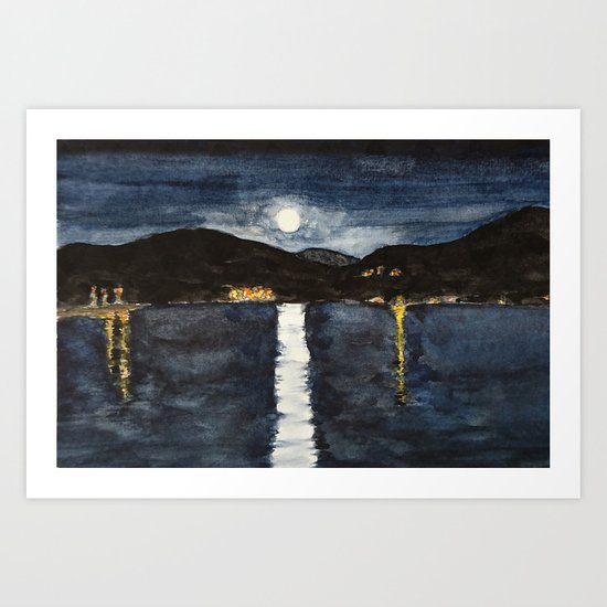 full moon by the sea Art Print