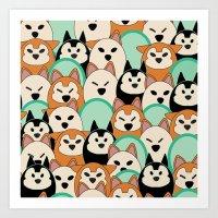 shiba inu Art Prints featuring Shiba Inu by Modify New York