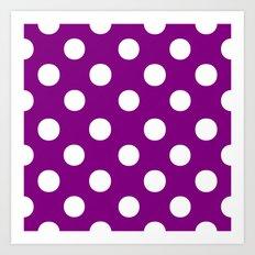Polka Dots (White/Purple) Art Print