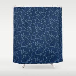 Star motif sashiko stitch pattern. Shower Curtain
