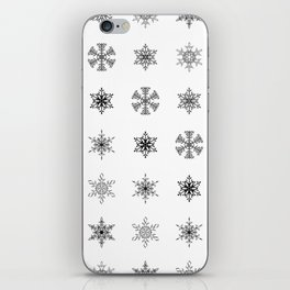 Snowflake Pattern - Black and white winter snowflake pattern artwork iPhone Skin