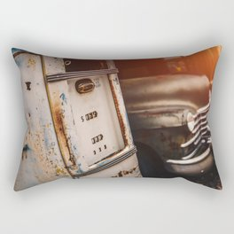 Old american abandoned gas station Rectangular Pillow