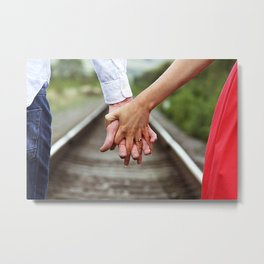 Holding Hands And Engaged Metal Print