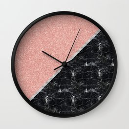 Faux Rose Glitter and Marble Pattern Wall Clock